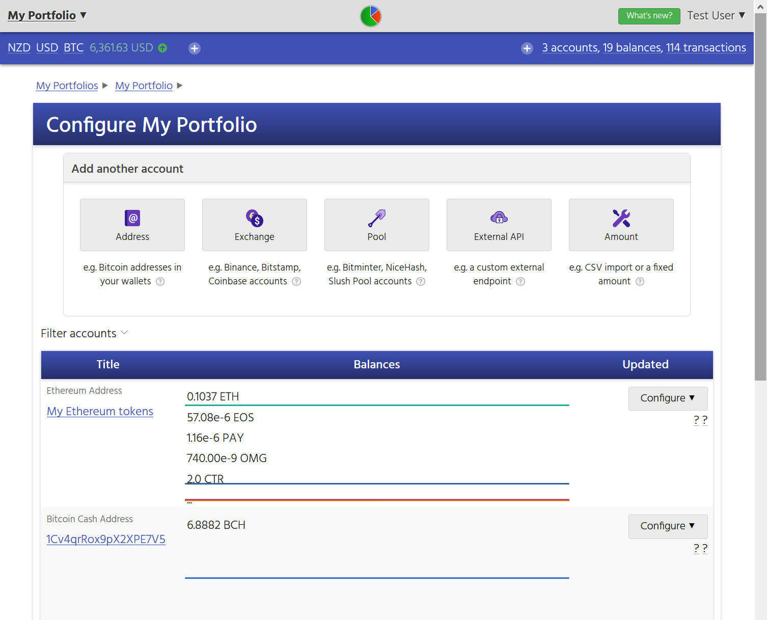 Screenshot showing the CryptFolio wizard interface to add new accounts, such as new exchange wallets, addresses, and mining pools.